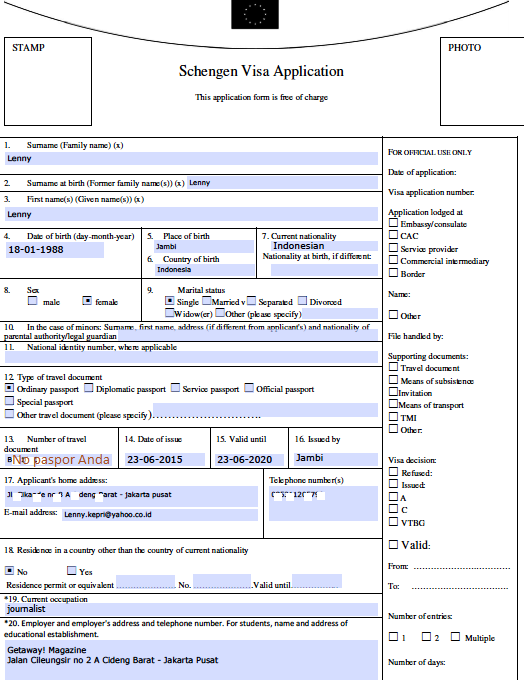 Formulir Visa Belanda