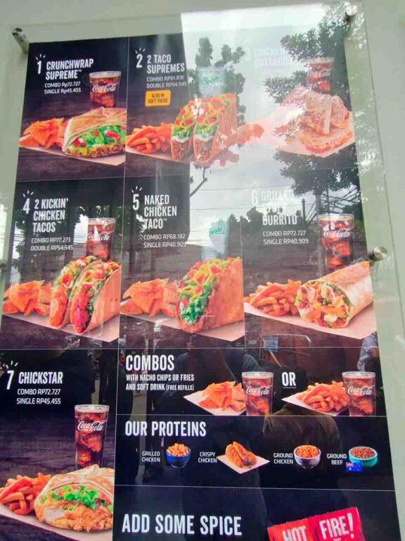 menu taco bell